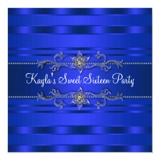 Royal Blue Birthday Party 5.25x5.25 Square Paper Invitation Card