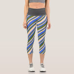 [ Thumbnail: Royal Blue, Bisque, and Dark Olive Green Pattern Leggings ]