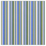 [ Thumbnail: Royal Blue, Bisque, and Dark Olive Green Pattern Fabric ]