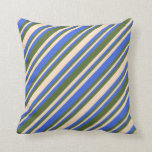 [ Thumbnail: Royal Blue, Bisque, and Dark Olive Green Pattern Throw Pillow ]