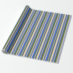 [ Thumbnail: Royal Blue, Bisque, and Dark Olive Green Pattern Wrapping Paper ]