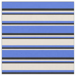 [ Thumbnail: Royal Blue, Bisque & Black Striped/Lined Pattern Fabric ]