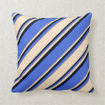 [ Thumbnail: Royal Blue, Bisque & Black Striped/Lined Pattern Throw Pillow ]