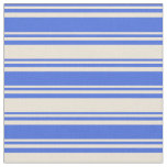 [ Thumbnail: Royal Blue & Bisque Colored Lines/Stripes Pattern Fabric ]