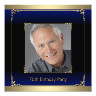 Royal Blue Black and Gold 70th Birthday Party Invite