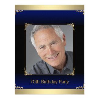 Royal Blue Black and Gold 70th Birthday Party Custom Invites