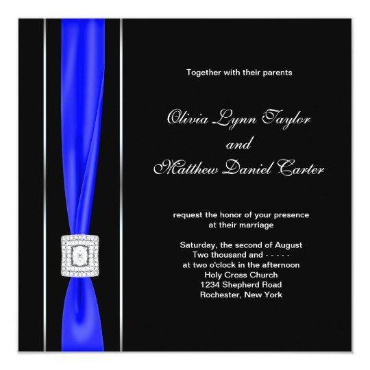 Royal Blue Black Blue Bow Wedding Invitation   Zazzle.com