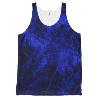 Royal Blue Black Crackle Lacquer Grunge Texture All-Over Print Tank Top