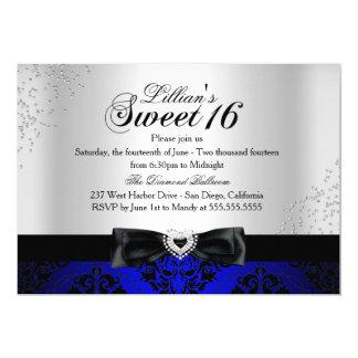 Royal Blue Black Damask Sparkle Sweet 16 Invite