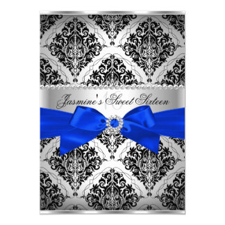 Royal Blue & Black Damask Sweet 16 Invitation