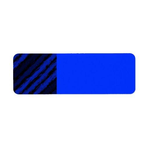 ROYAL BLUE BLACK JAGGED STRIPES GRAPHICS BACKGROUN CUSTOM RETURN ADDRESS LABEL