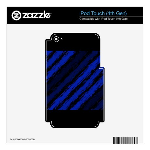 ROYAL BLUE BLACK JAGGED STRIPES GRAPHICS BACKGROUN SKIN FOR iPod TOUCH 4G