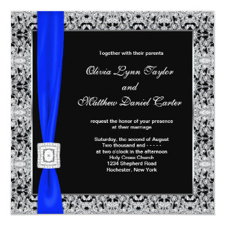 Royal Blue Black Lace Wedding Card