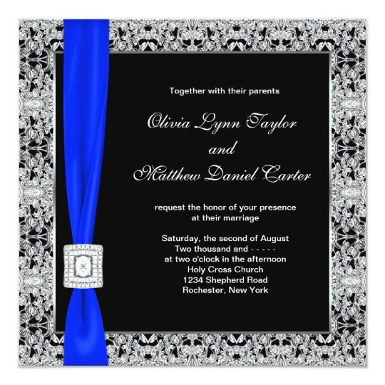 Dark Blue Wedding Invitations: Royal Blue Black Lace Wedding Invitation