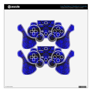 Royal Blue Black Modern Abstract Pattern PS3 Controller Decal