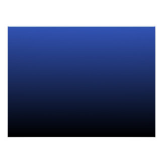 Royal Blue Black Ombre Poster
