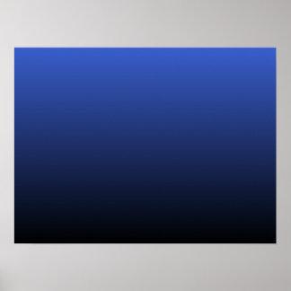 Royal Blue Black Ombre Poster