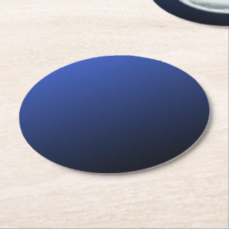 Royal Blue Black Ombre Round Paper Coaster