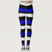 Royal Blue Black & Silver Horizontally-Striped Leggings