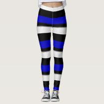Royal Blue Black & Silver Horizontally-Striped Leggings