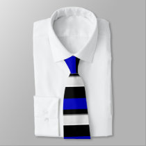 Royal Blue Black & Silver Horizontally-Striped Tie