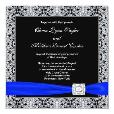 Navy Blue Square Wedding Invitations White Flower | Zazzle