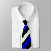 Royal Blue Black & Silver Regimental Stripe Tie