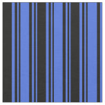 [ Thumbnail: Royal Blue & Black Stripes Pattern Fabric ]