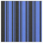 [ Thumbnail: Royal Blue & Black Stripes Pattern Fabric ]