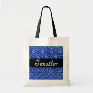 Royal Blue & Black Wedding Damask Bridesmaid Bag