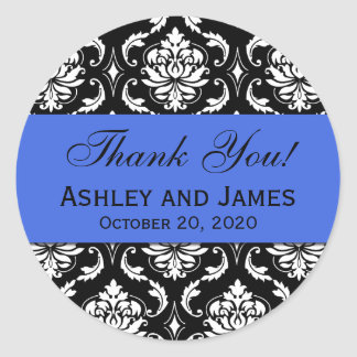 Royal Blue Black Wedding Damask Thank You Classic Round Sticker