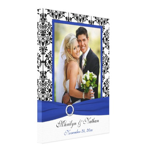 Royal Blue, Black, White Damask Wedding Canvas Stretched Canvas Print