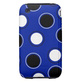 Royal Blue Black White Polka Dots Circles Pattern iPhone 3 Tough Case