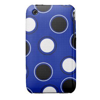 Royal Blue Black White Polka Dots Circles Pattern Case-Mate iPhone 3 Case