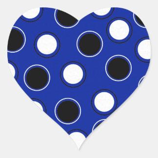 Royal Blue Black White Polka Dots Circles Pattern Heart Sticker