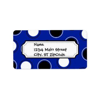 Royal Blue Black White Polka Dots Circles Pattern Label