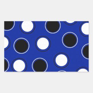 Royal Blue Black White Polka Dots Circles Pattern Rectangular Sticker