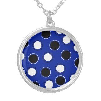 Royal Blue Black White Polka Dots Circles Pattern Silver Plated Necklace