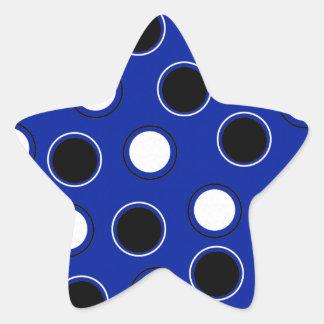 Royal Blue Black White Polka Dots Circles Pattern Star Sticker