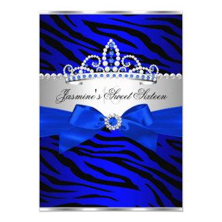 Royal Blue & Black Zebra Sweet 16 Birthday Party 2 5x7 Paper Invitation Card
