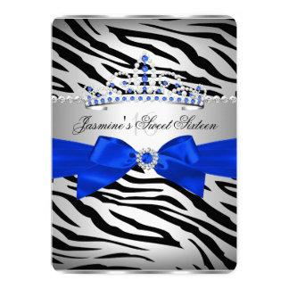 Royal Blue & Black Zebra Sweet 16 Birthday Party Card
