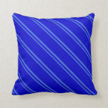 [ Thumbnail: Royal Blue & Blue Colored Stripes Throw Pillow ]