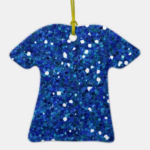 ROYAL BLUE BLUES WHITE GLITTER-LIKE TILES TEXTURES CHRISTMAS ORNAMENT