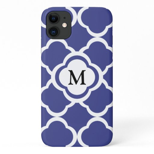 Royal Blue Boho Foral Quatrefoil Monogram Pattern iPhone 11 Case