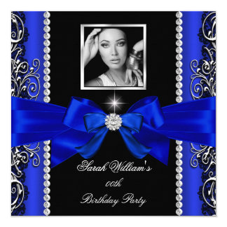 Royal Blue Bow Birthday Party Black Silver Photo 2 Card