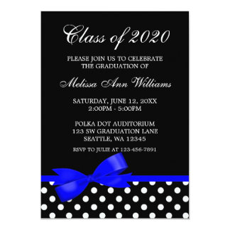 Royal Blue Bow Polka Dots Graduation Announcement