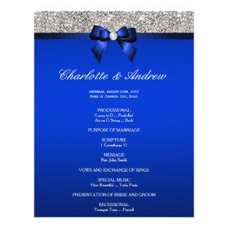 Royal Blue Bow Silver Sequins Wedding Program