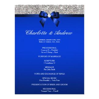 Royal Blue Bow Silver Sequins Wedding Program