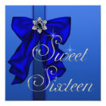 Royal Blue Bow Sweet 16 Birthday Party Announcement