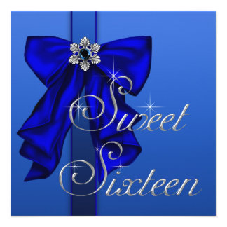Royal Blue Bow Sweet 16 Birthday Party 5.25x5.25 Square Paper Invitation Card